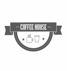 gray coffee logo template with stylized cup and vector image vector image