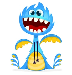 Happy halloween cartoon blue dragon vector