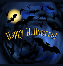 happy halloween poster with bats vector image vector image
