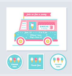 Icecream truck kids party invitation and vector