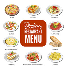 Italian food cusine dishes pizza pasta meat and vector