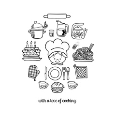 Kitchen tools and cook sketch icons vector image vector image