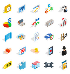 Online chat icons set isometric style vector