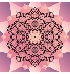 Ornament beautiful mandala chakra flower of pink vector