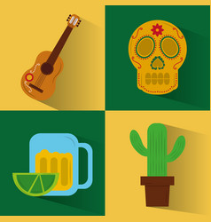 Set of icons viva mexico party celebration vector