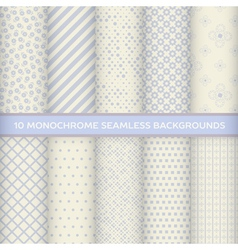 Set of monochrome seamless backgrounds vector