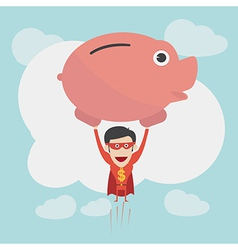 Super money man for business and finance concept vector image