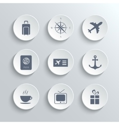 Travel icons set - white round buttons vector