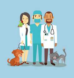 veterinarian staff with cute pets isolated on blue vector image vector image