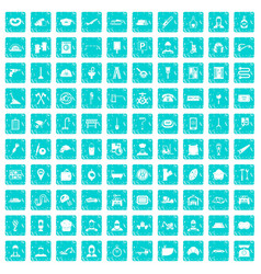 100 working professions icons set grunge blue vector image vector image