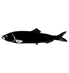 Silhouette of herring vector image