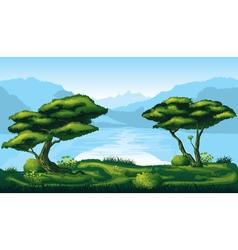Seamless background of landscape with deep fir vector