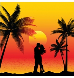 Couple kissing on beach vector