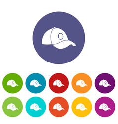 baseball helmet icons set flat vector image