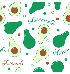 Avocado line design seamless pattern vector
