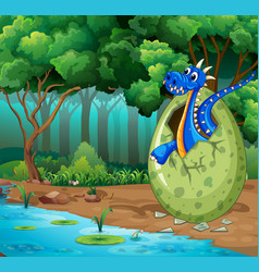 forest scene with blue dragon hatching egg vector image