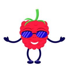 Cartoon raspberry sunglasses pens and legs vector