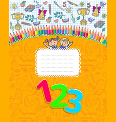 School yellow notebook cover in cage vector