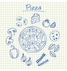 Pizza doodles squared paper vector
