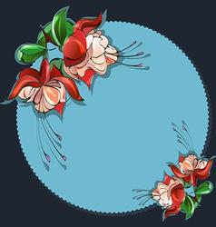 Floral frame fuchsia vector image