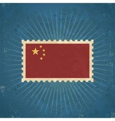 Retro China Flag Postage Stamp vector image