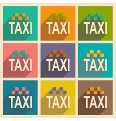 Flat with shadow icon and mobile applacation taxi vector