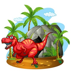 Dinosaur standing in front of the cave vector image