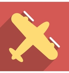 Screw aeroplane flat longshadow square icon vector