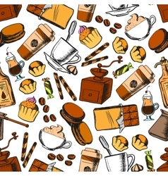 Coffee sweets and pastries seamless pattern vector