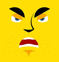 Cartoon angry face on yellow background aggressive vector