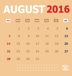 August 2016 monthly calendar template vector image