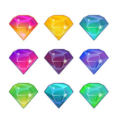 brilliant diamonds in different colors vector image vector image