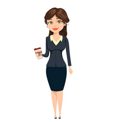 Businesswoman standing with coffee cute cartoon vector