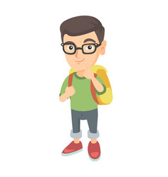 Caucasian little boy with school bag thinking vector