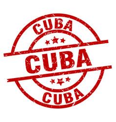 Cuba red round grunge stamp vector