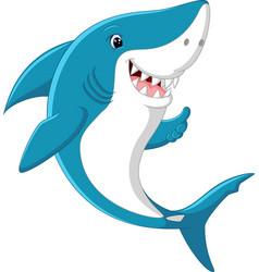 cute shark giving thumb up vector image