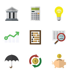 Flat icon incoming set of money box bubl vector
