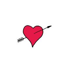 heart with arrow cartoon hand drawn icon vector image