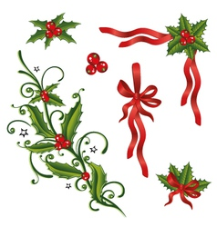 Holly loops set vector image