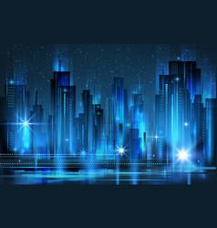 Illuminated night city skyline vector
