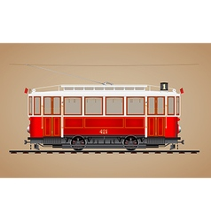 Old red tram vector