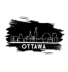 Ottawa canada skyline silhouette hand drawn sketch vector