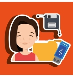 people with drive and usb isolated icon design vector image