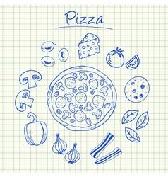Pizza doodles squared paper vector