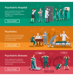 Psychiatric illnesses banners set vector