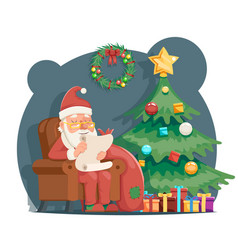 scroll wishes paper santa claus sit armchair vector image vector image