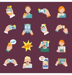 Selfie icons flat vector
