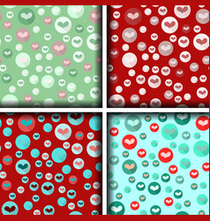 set of four heart patterns in bubbles vector image vector image