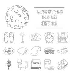 sleep and rest set icons in outline style big vector image vector image