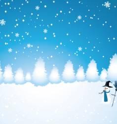 snow man scene vector image vector image